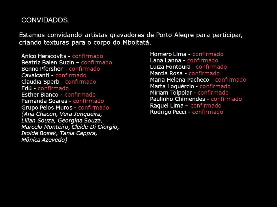 CONVIDADOS: Estamos convidando artistas gravadores de Porto Alegre para participar, criando texturas para o corpo do Mboitatá.