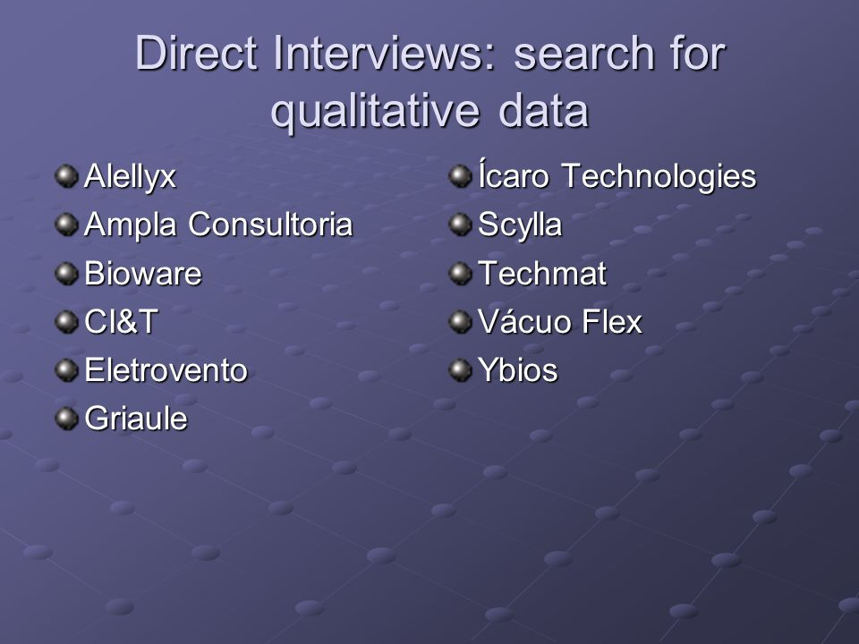 Direct Interviews: search for qualitative data