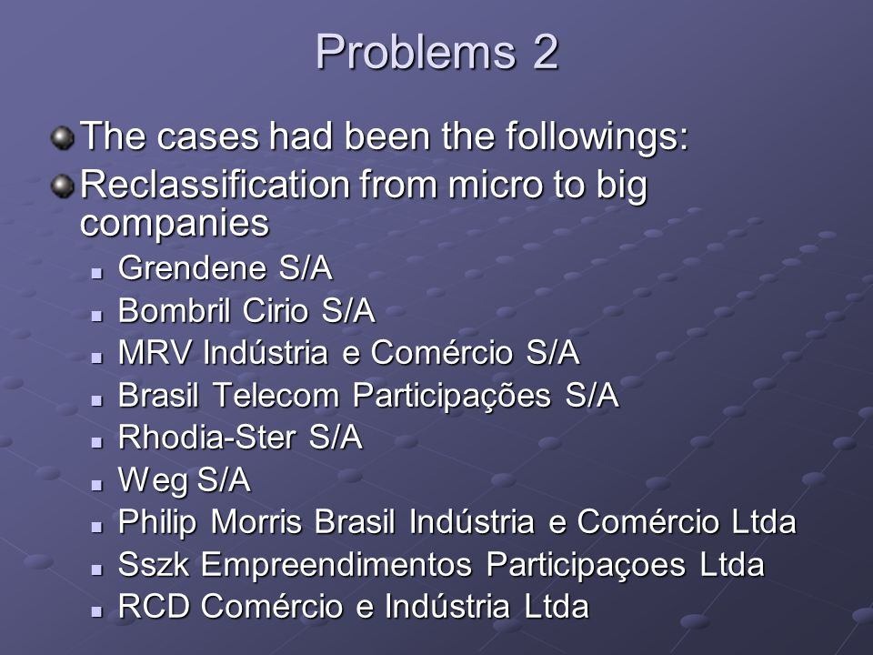 Problems 2 The cases had been the followings: