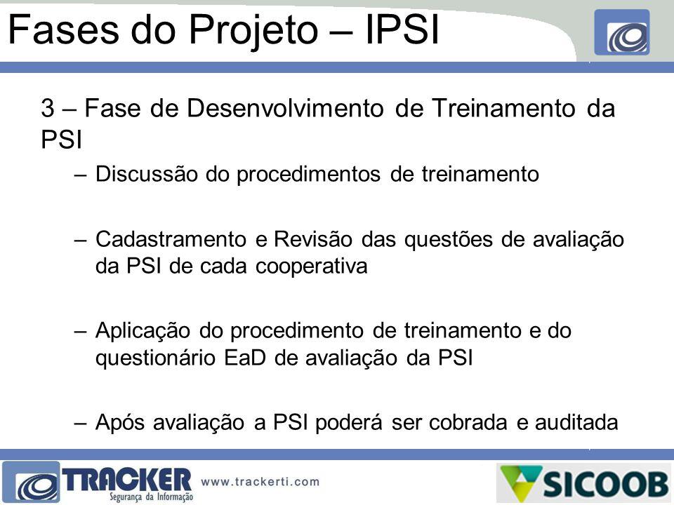 Fases do Projeto – IPSI 3 – Fase de Desenvolvimento de Treinamento da PSI. Discussão do procedimentos de treinamento.