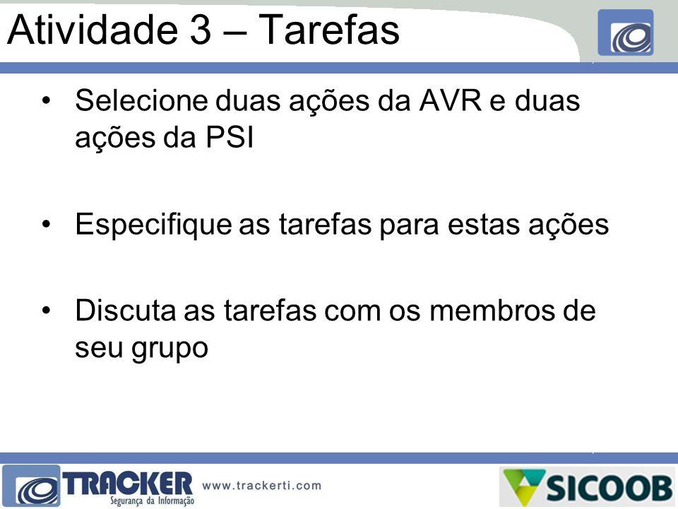 Atividade 3 – Tarefas Selecione duas ações da AVR e duas ações da PSI
