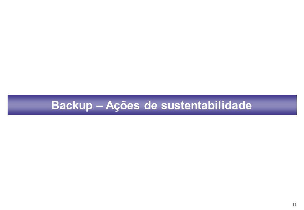 Backup – Ações de sustentabilidade