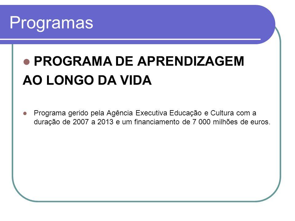 Programas PROGRAMA DE APRENDIZAGEM AO LONGO DA VIDA