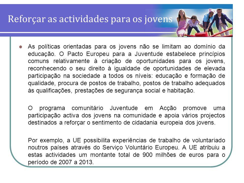 Reforçar as actividades para os jovens