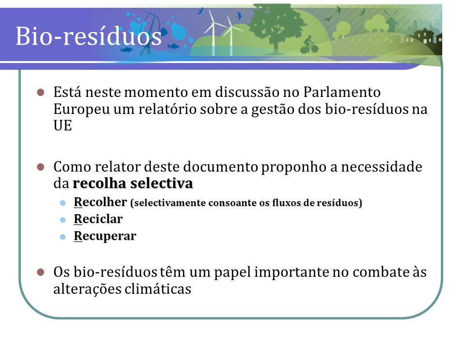 Bio-resíduos Está neste momento em discussão no Parlamento Europeu um relatório sobre a gestão dos bio-resíduos na UE.