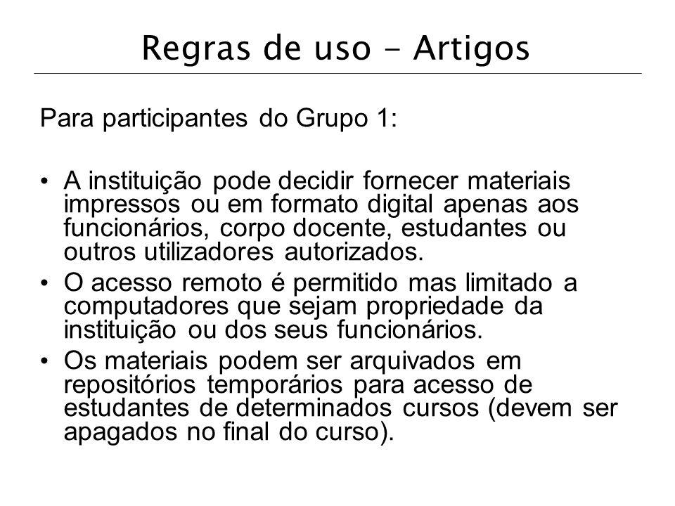 Regras de uso - Artigos Para participantes do Grupo 1: