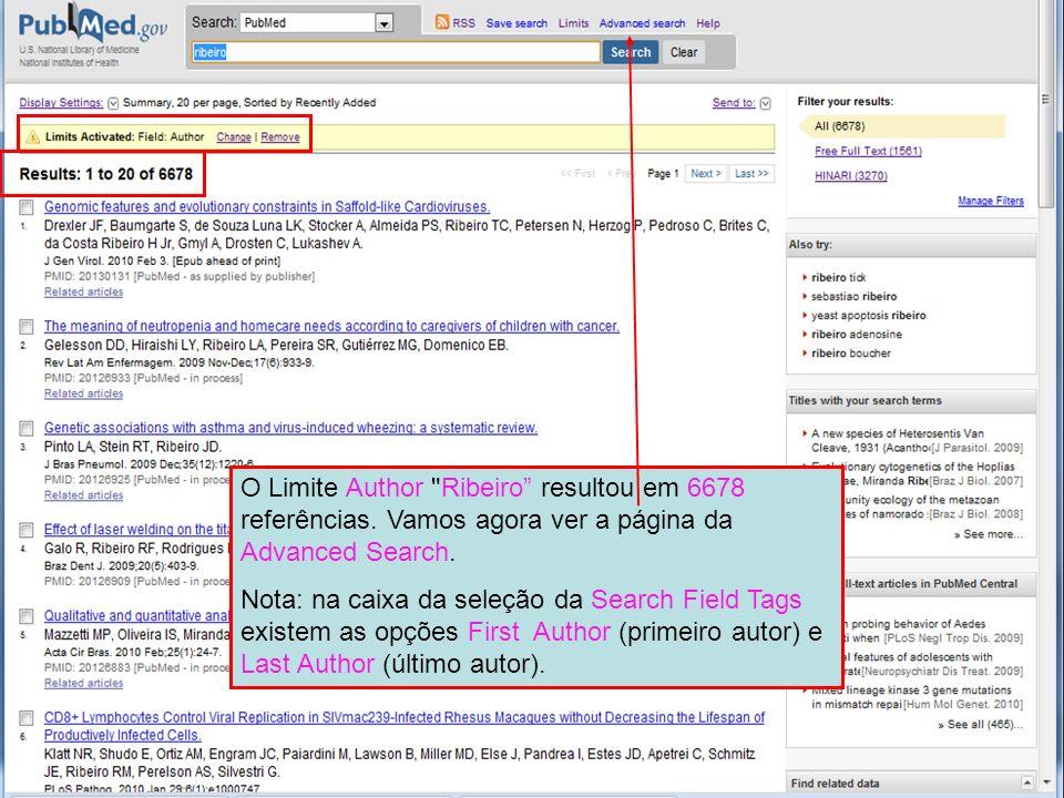 O Limite Author Ribeiro resultou em 6678 referências