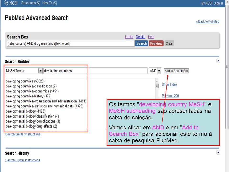 Os termos developing country MeSH e MeSH subheading são apresentadas na caixa de seleção.