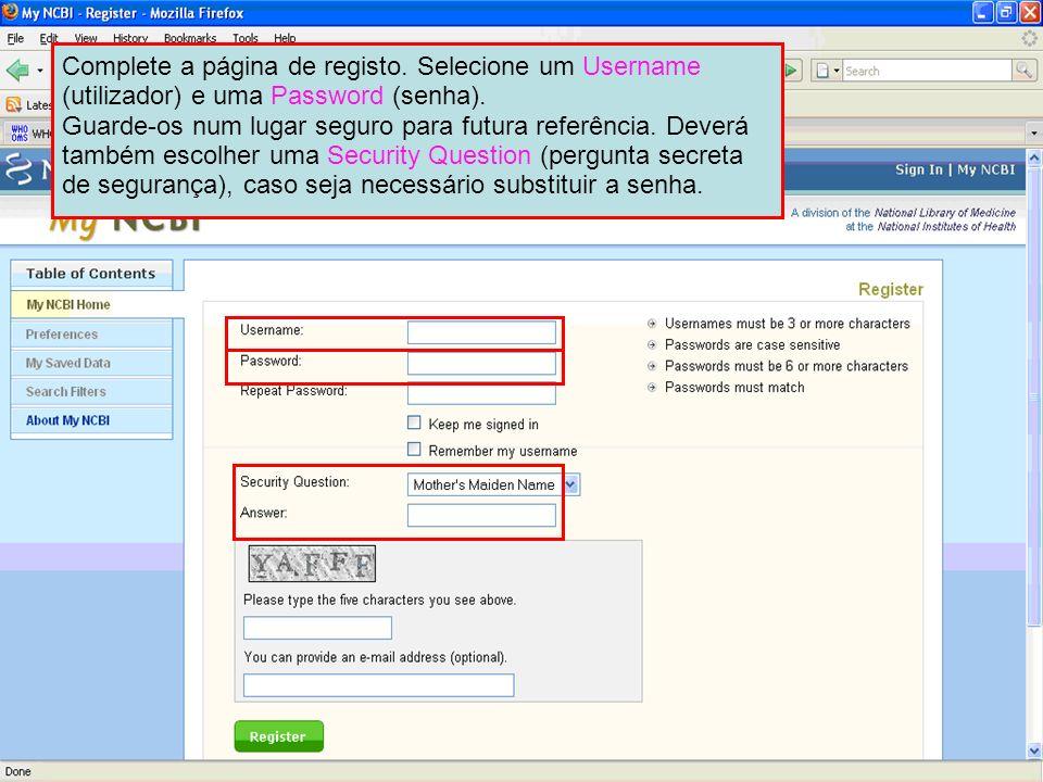 Complete a página de registo