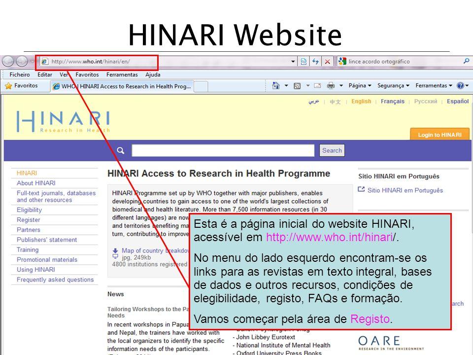 HINARI Website Esta é a página inicial do website HINARI, acessível em http://www.who.int/hinari/.