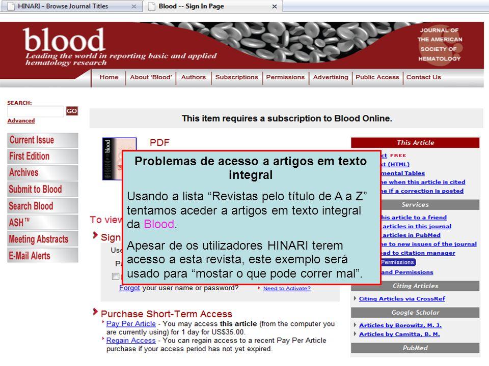 Problemas de acesso a artigos em texto integral