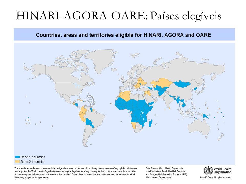 HINARI-AGORA-OARE: Países elegíveis