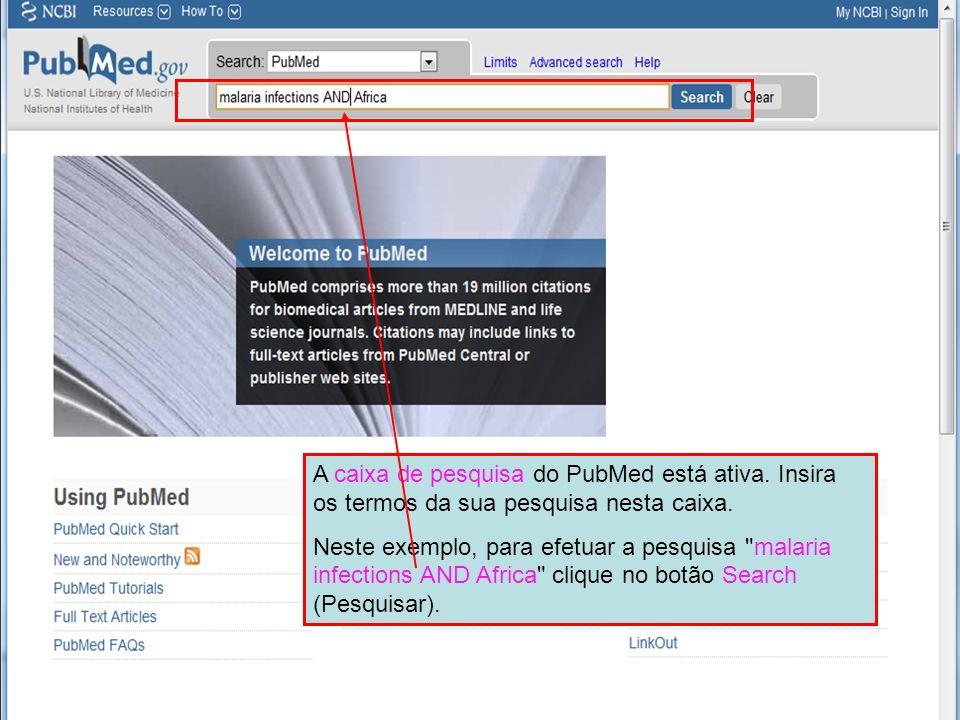 A caixa de pesquisa do PubMed está ativa