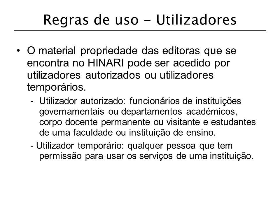Regras de uso - Utilizadores