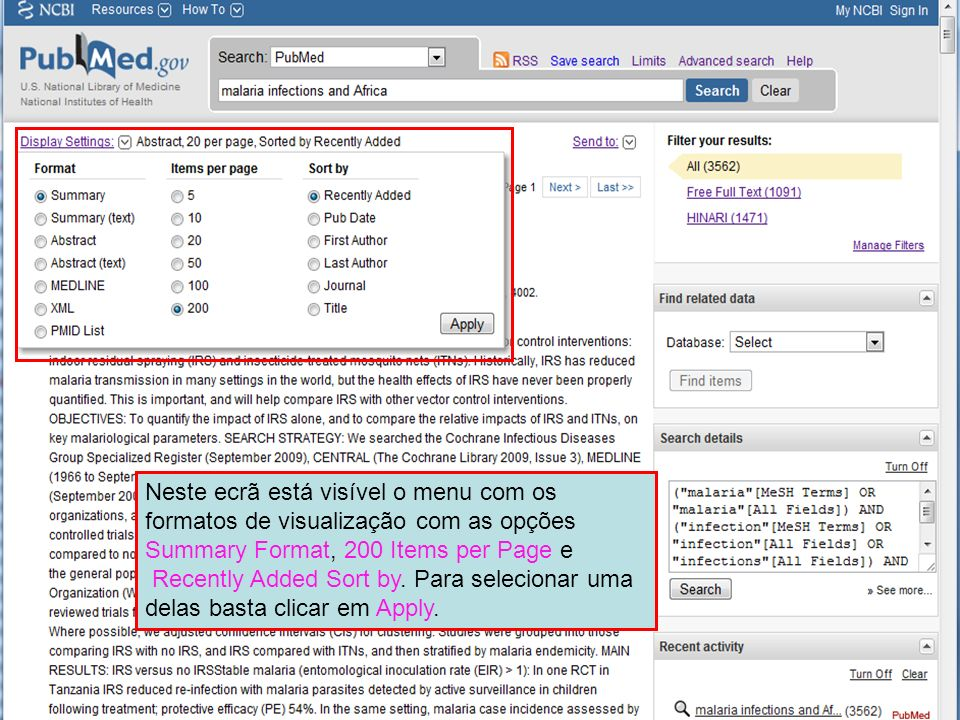 Neste ecrã está visível o menu com os formatos de visualização com as opções Summary Format, 200 Items per Page e
