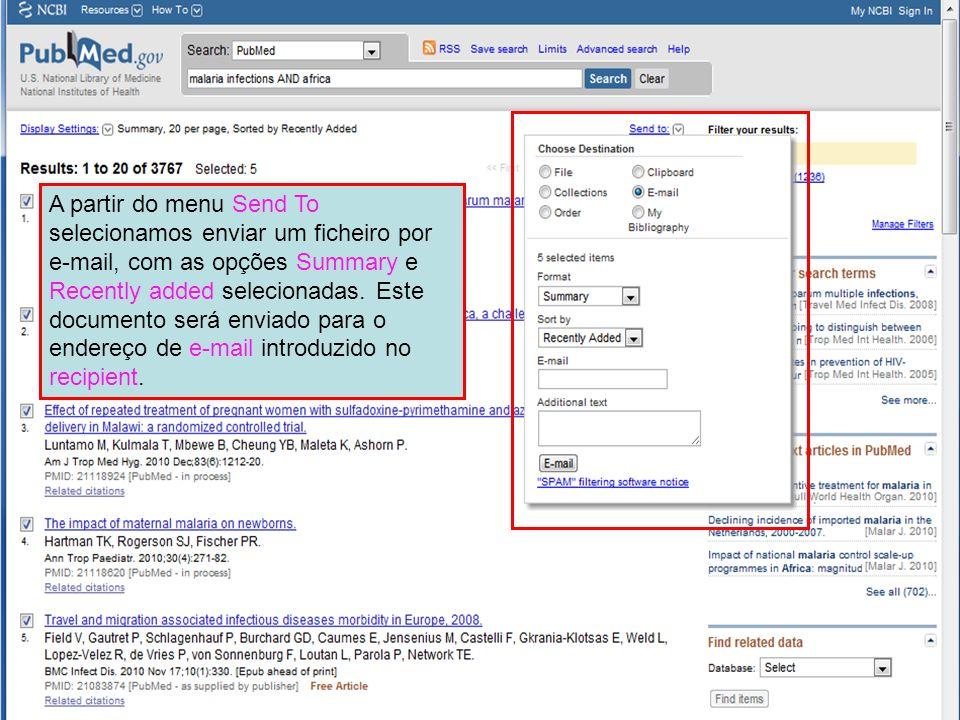 A partir do menu Send To selecionamos enviar um ficheiro por e-mail, com as opções Summary e