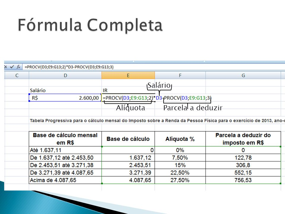 Fórmula Completa Salário Alíquota Parcela a deduzir