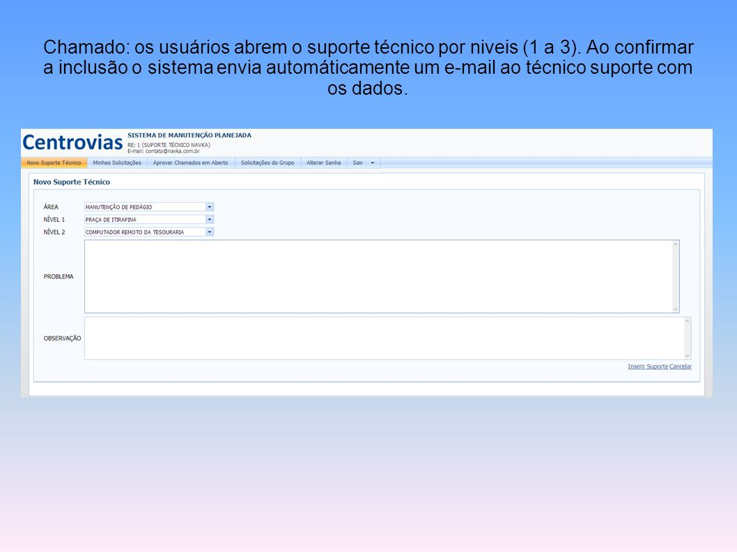 Chamado: os usuários abrem o suporte técnico por niveis (1 a 3)