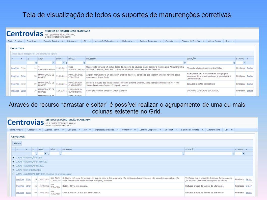 Tela de visualização de todos os suportes de manutenções corretivas.