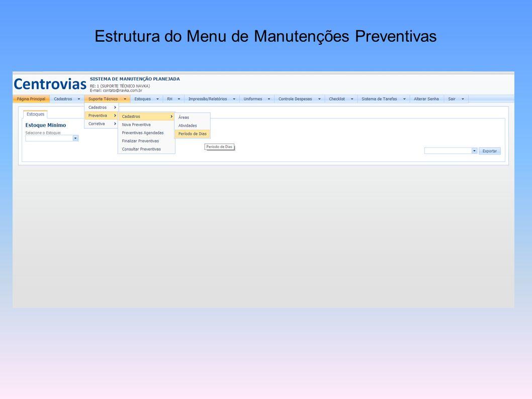 Estrutura do Menu de Manutenções Preventivas