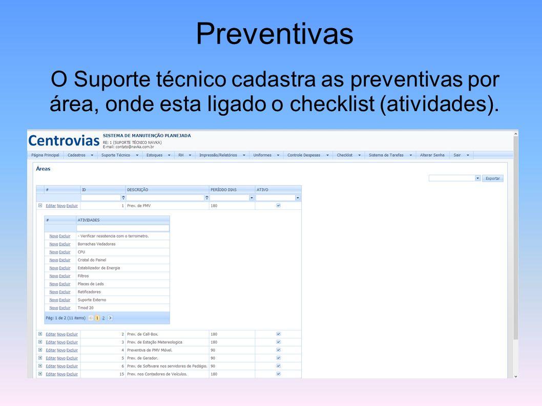 PreventivasO Suporte técnico cadastra as preventivas por área, onde esta ligado o checklist (atividades).