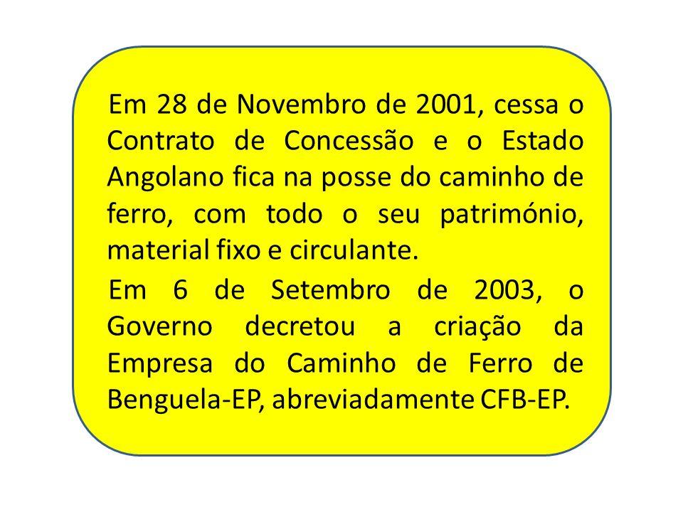 Em 28 de Novembro de 2001, cessa o Contrato de Concessão e o Estado Angolano fica na posse do caminho de ferro, com todo o seu património, material fixo e circulante.