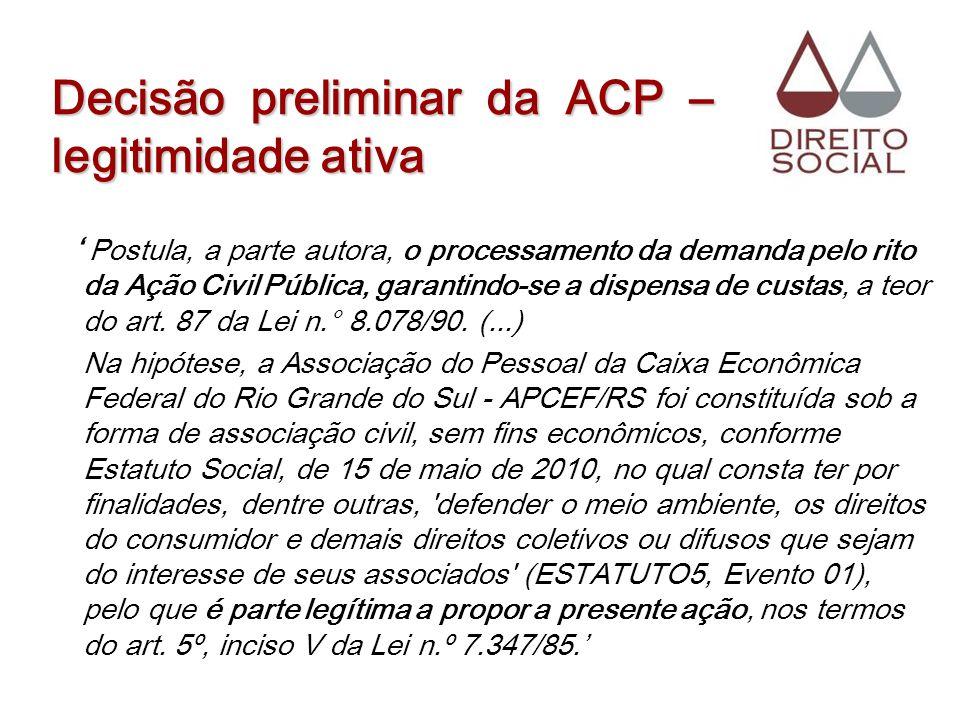 Decisão preliminar da ACP – legitimidade ativa