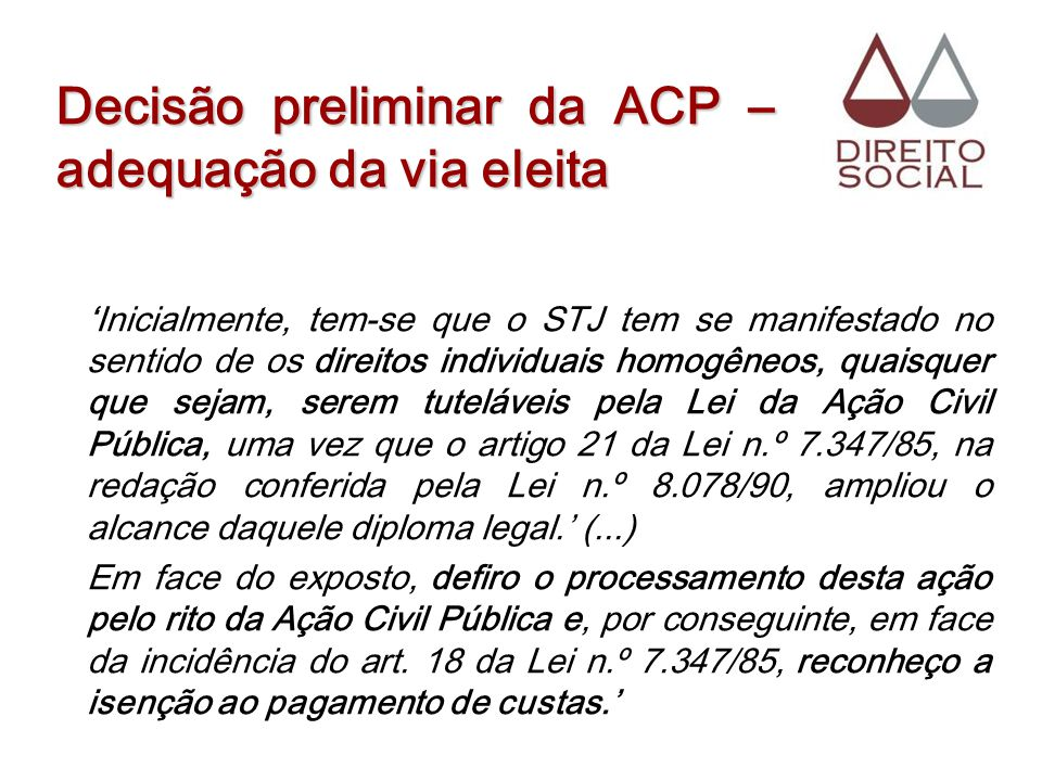 Decisão preliminar da ACP – adequação da via eleita