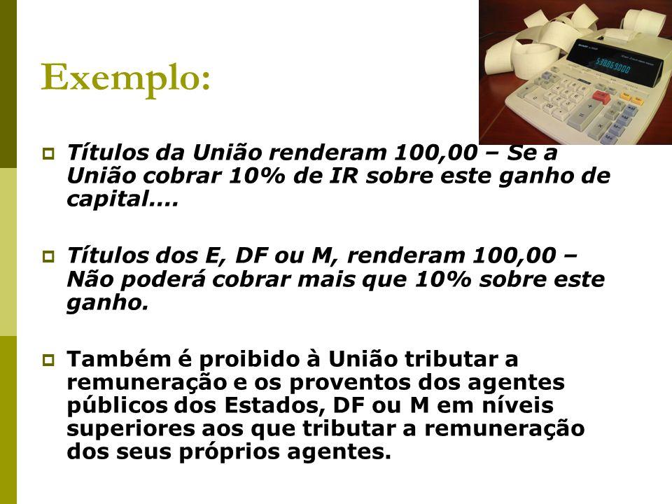 Exemplo: Títulos da União renderam 100,00 – Se a União cobrar 10% de IR sobre este ganho de capital....