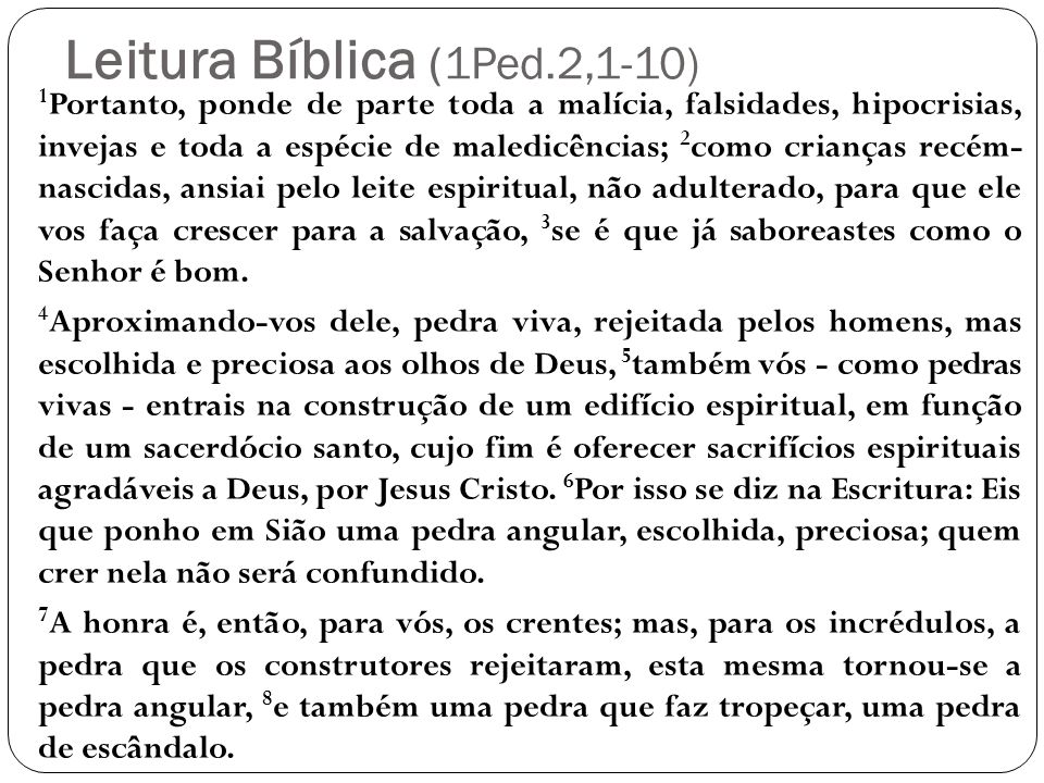 Leitura Bíblica (1Ped.2,1-10)