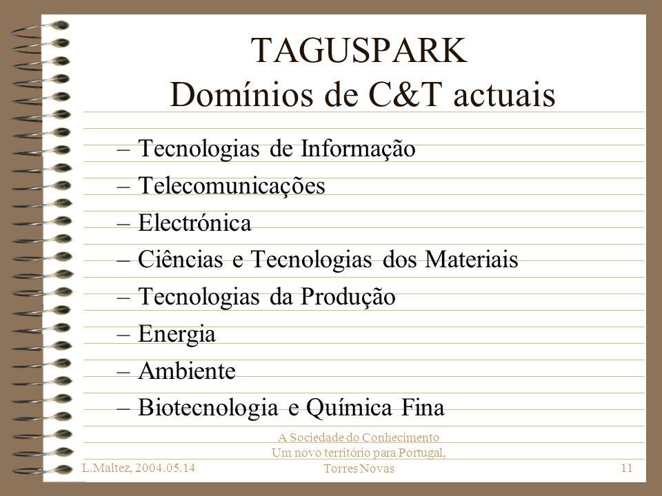TAGUSPARK Domínios de C&T actuais