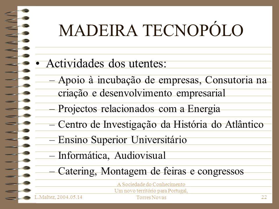 MADEIRA TECNOPÓLO Actividades dos utentes: