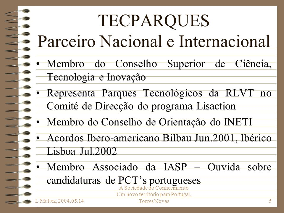 TECPARQUES Parceiro Nacional e Internacional