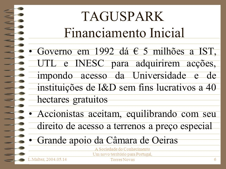 TAGUSPARK Financiamento Inicial