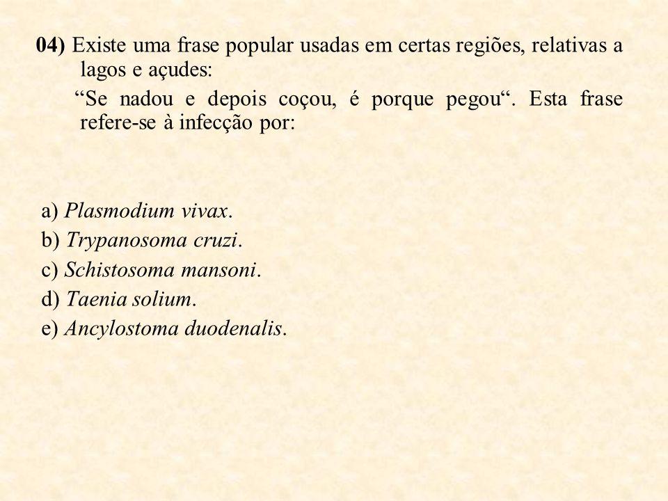 04) Existe uma frase popular usadas em certas regiões, relativas a lagos e açudes: