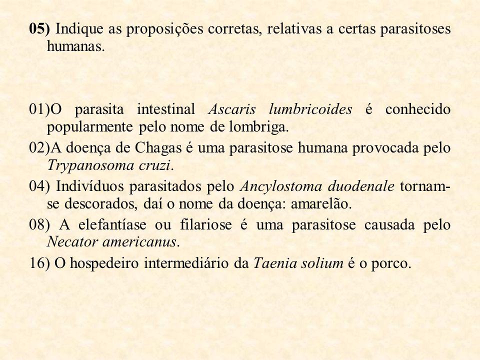 05) Indique as proposições corretas, relativas a certas parasitoses humanas.