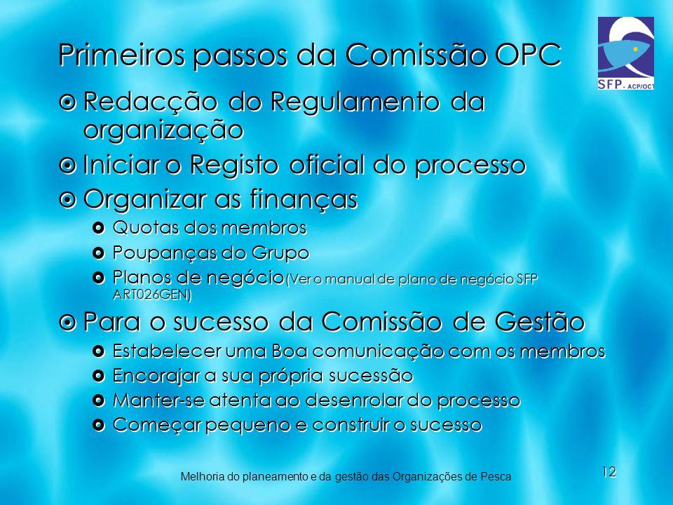 Primeiros passos da Comissão OPC