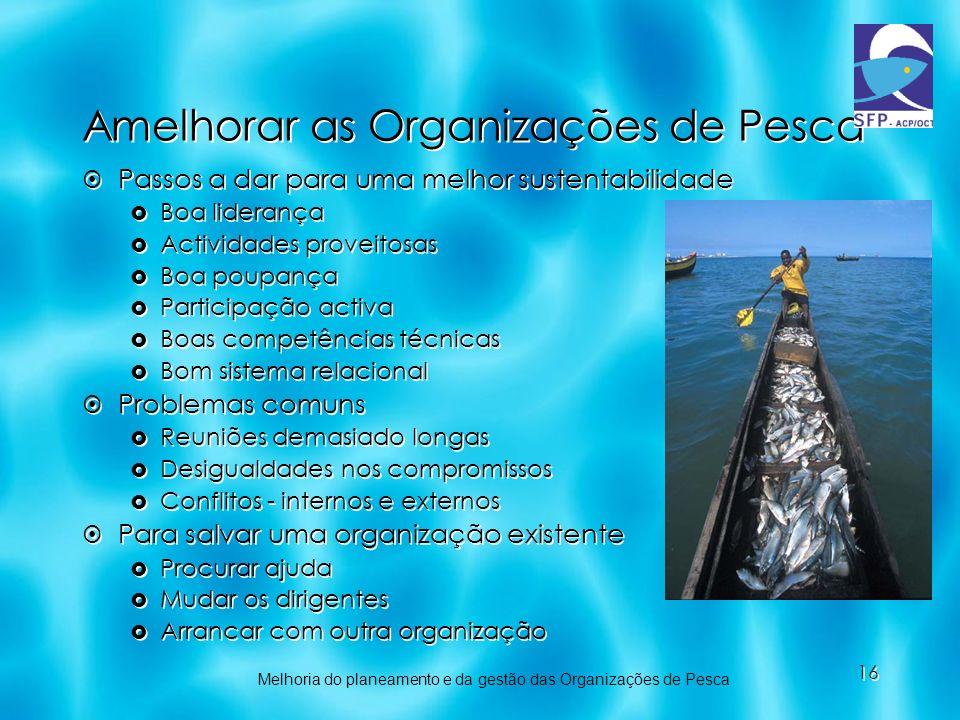 Amelhorar as Organizações de Pesca