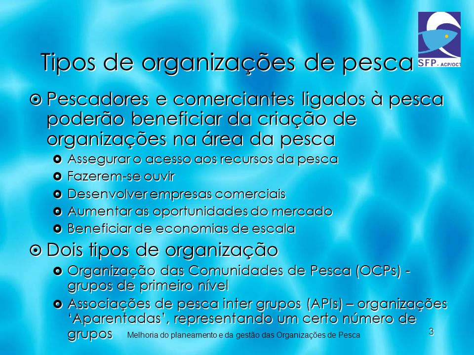 Tipos de organizações de pesca