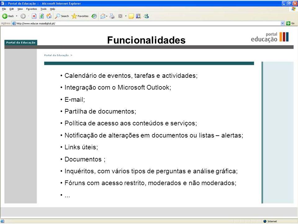 Funcionalidades Calendário de eventos, tarefas e actividades;