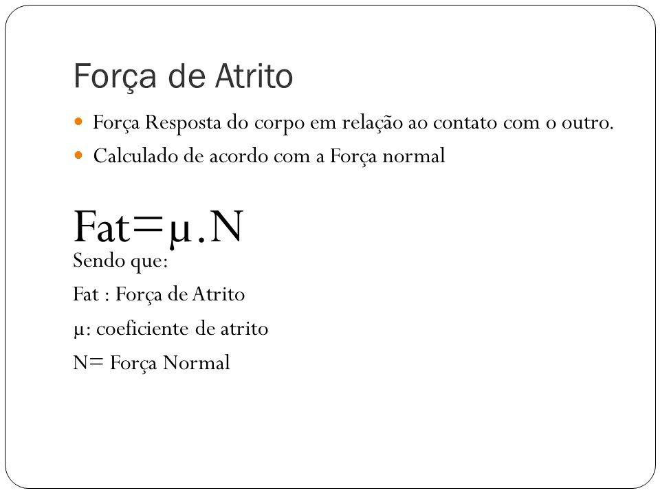 Força de Atrito Força Resposta do corpo em relação ao contato com o outro. Calculado de acordo com a Força normal.
