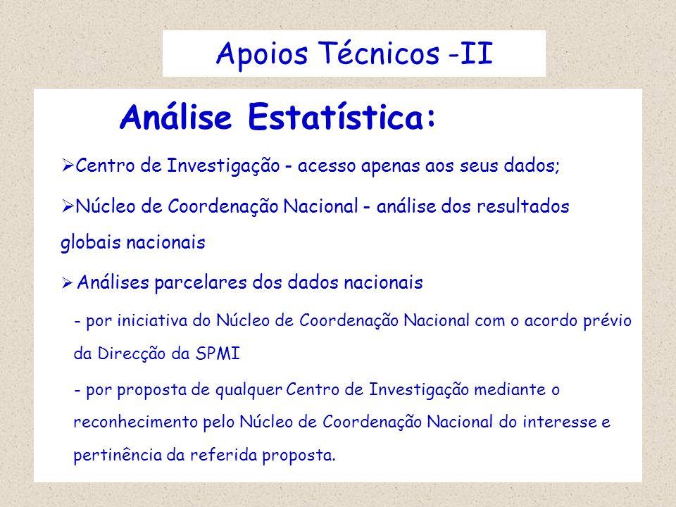 Apoios Técnicos -IIAnálise Estatística: Centro de Investigação - acesso apenas aos seus dados;