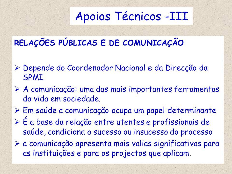 Apoios Técnicos -III RELAÇÕES PÚBLICAS E DE COMUNICAÇÃO