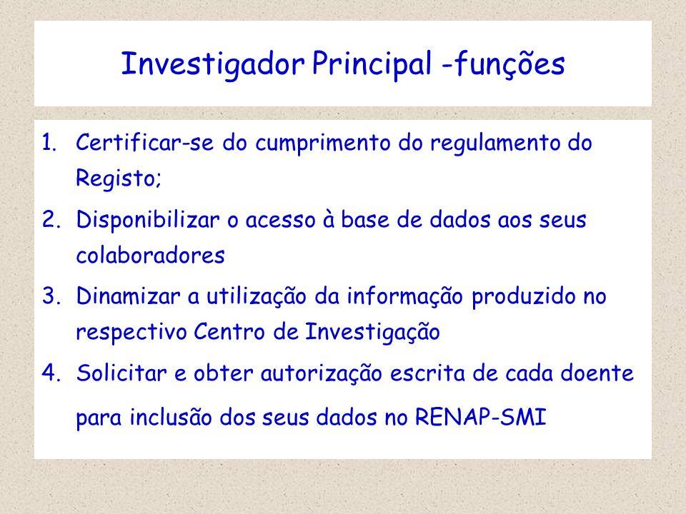 Investigador Principal -funções