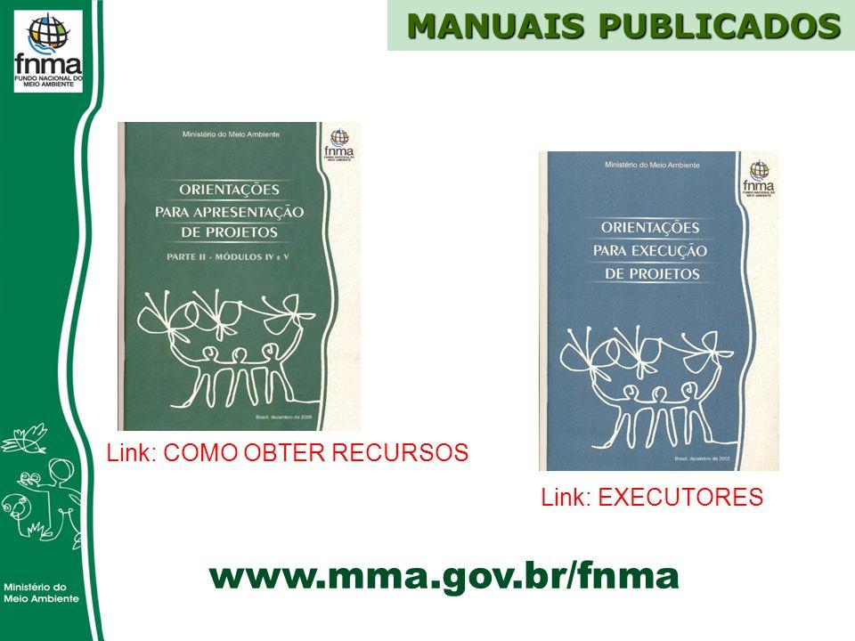 www.mma.gov.br/fnma MANUAIS PUBLICADOS Link: COMO OBTER RECURSOS