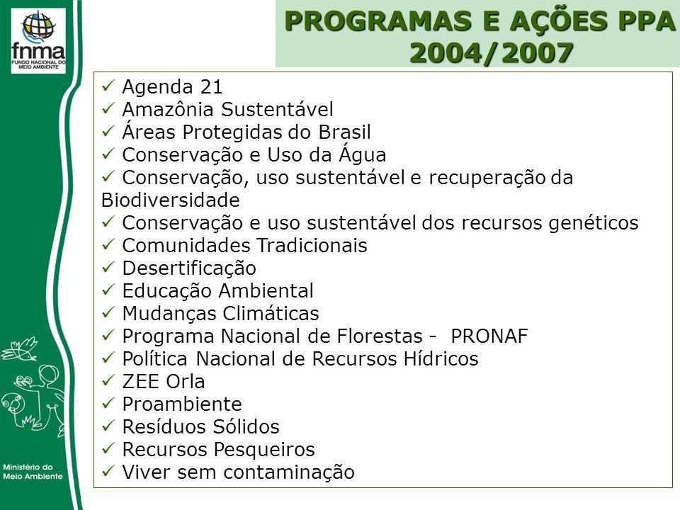 PROGRAMAS E AÇÕES PPA 2004/2007 Agenda 21 Amazônia Sustentável
