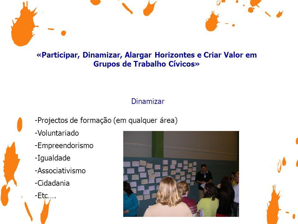«Participar, Dinamizar, Alargar Horizontes e Criar Valor em Grupos de Trabalho Cívicos»