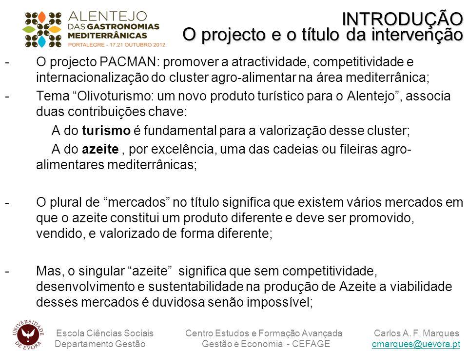 INTRODUÇÃO O projecto e o título da intervenção