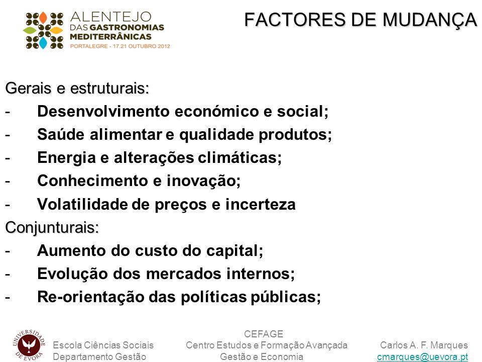 FACTORES DE MUDANÇA Gerais e estruturais: