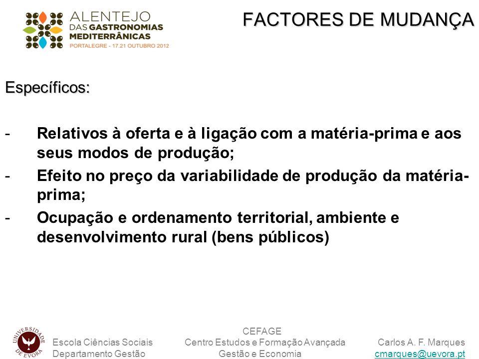 FACTORES DE MUDANÇA Específicos: